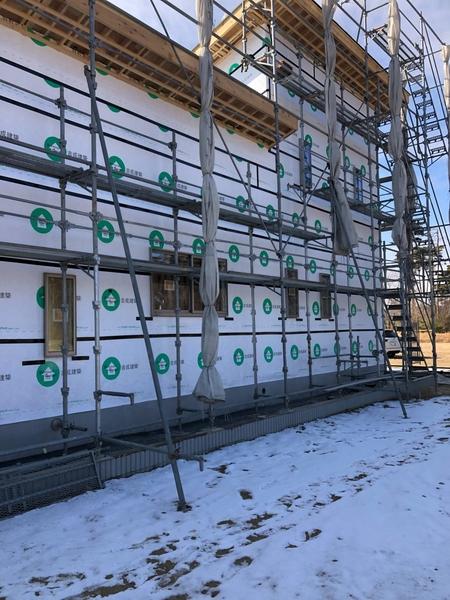 外壁防水シート貼り完了